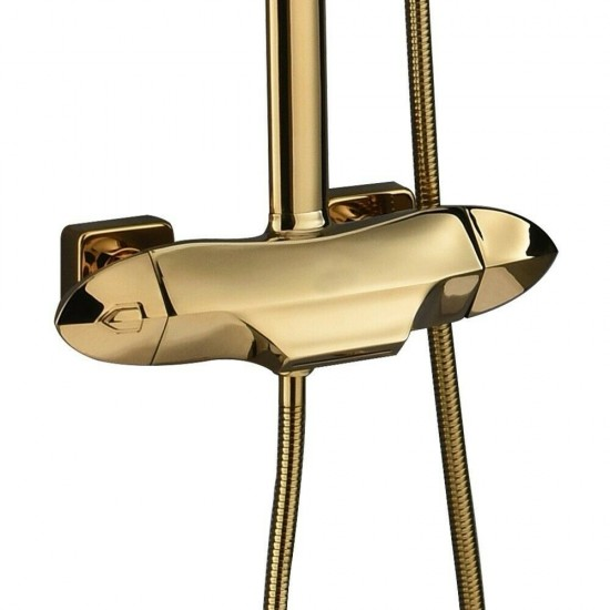 Exposed Thermostatic Shower System with Handshower&Waterfall Tub Spout in Gold