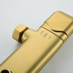 """Gold Wall Mount Shower System Thermostatic Faucet 10"""" Rainfall Shower &Headheld"""