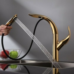 Pull Down Kitchen Faucet , Kitchen Sink Faucet with Sprayer, Modern Single Handle Mixer Tap Gold