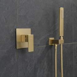 Modern Wall Mounted Brushed Gold Brass Shower Faucet Set with handheld shower
