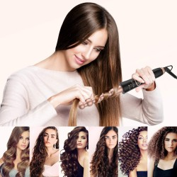 6 in 1 Curling Iron Wand Set Temperature Adjustable with 6 Interchangeable Ceramic Conical Spiral Barrels 0.5'' to 1.25'' Rose Golden Hair Curlers and Heat Protective Glove