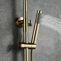 "Brushed Gold Solid Brass Bathroom Shower Set 10"" Rainfall Shower Head Faucet"