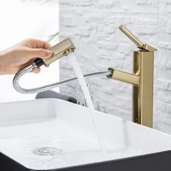 Pull Down Bathroom Sink Faucet, Modern Lavatory Vessel Sink Faucet, Utility Single Hole Kitchen Sink Faucet with Pull Out Sprayer, Commercial Basin Mixer Tap, Brass (Brushed Gold)