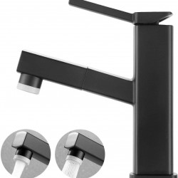 Bathroom Sink Faucet with Pull Out Sprayer, Single Handle Basin Mixer Tap for Hot and Cold Water, Lavatory Pull Down Vessel Sink Faucet with Rotating Spout(Regular, Black)