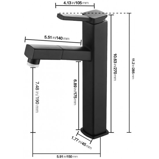 Pull Down Bathroom Sink Faucet, Modern Lavatory Vessel Sink Faucet, Utility Single Hole Kitchen Sink Faucet with Pull Out Sprayer, Commercial Basin Mixer Tap, Brass (Regular, Black)