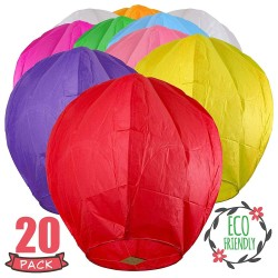 20 Pack Colorful Chinese Lanterns - Biodegradable Paper Lanterns Multi-Color Assortment for Birthdays, Parties, New Years, Memorial Ceremonies and More