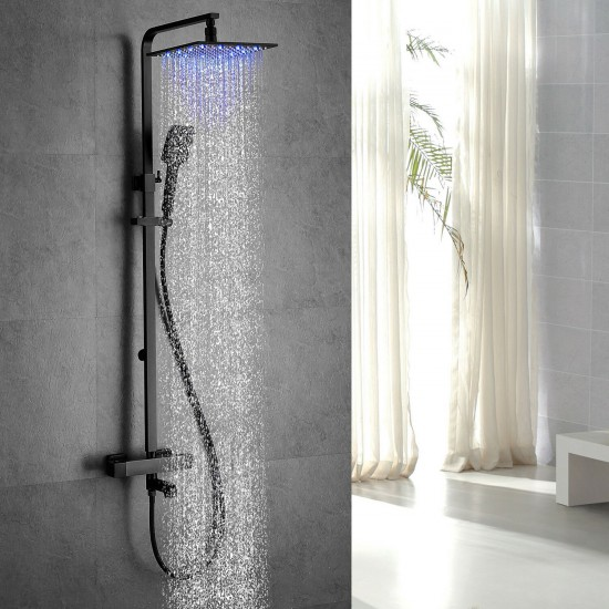 """Bathroom LED Black Shower Set Wall Mounted 10"""" Rainfall Shower Mixer Tap System"""