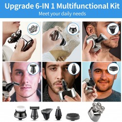 Electric Shavers for Men,Upgrade 6-in-1 Bald Head Shavers for Men,Fast Charging IPX6 Waterproof Mens Electric Shavers for Men
