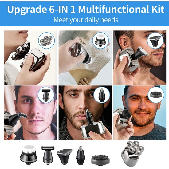 Head Shavers for Bald Men - 5 in 1 Wet and Dry Electric Razor for Men - Rechargeable Electric Shavers Trimmer - Bald Head Shaver Clippers Cordless Rotary Shaver Grooming - Waterproof