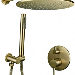 8/10/12 inch Solid Brass Shower Set Bathroom Round Head Faucet Luxury Gold HandShower Diverter Mixer Golden Handheld Spray Set