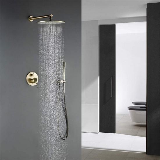 Solid Brass Shower Set Bathroom Round Head Faucet Luxury Gold HandShower Diverter Mixer Golden Handheld Spray Set