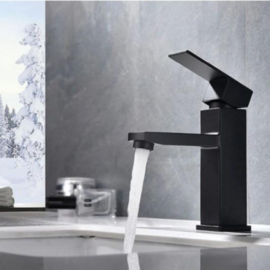 Bathroom Sink Faucet Square Single Handle Basin Faucet Wash Tap Bathroom Toilet Deck Mounted Basin Tap Black