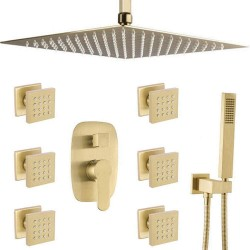 Modern Bathroom Body Brass Brushed Gold 12 Inch Ceiling Rainfall Shower System Body Jet Mixer Set