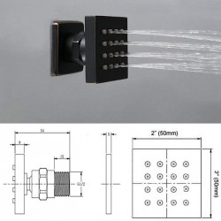 Bathroom Square 12 Inch Ceiling Rainfall Shower Faucet System With 6 PCS Body Jets Mixer Set Oil Rubbed Bronze Finish