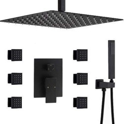 Bathroom Black 12 Inch Ceiling Rainfall Shower System With 6 Pcs Body Spray Jet Mixer Set