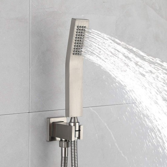 Brushed Nickel Shower System Waterfall Tub Shower Faucet set with 10'' Rain Shower Head and Handheld