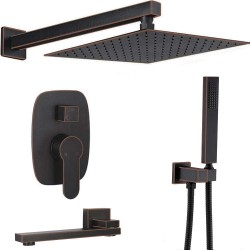 Bathroom Brass Ceiling 12 Inch Rainfall Shower Faucet System Mixer Set (Wall Mount, Oil Rubbed Bronze)