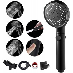 Shower Head with Hose and on off Switch, 3 Setting High Pressure Handheld Shower Head, Removable Shower Head with hose, Adjustable Angle Bracket, Low-Reach Wand Holder, Black