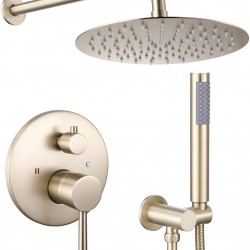 "10"" Rain Shower System Round Rainfall Shower Head Wall Mounted Shower Combo Set with with Handheld Shower in Brushed Gold"