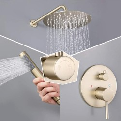 """10"""" Rain Shower System Round Rainfall Shower Head Wall Mounted Shower Combo Set with with Handheld Shower in Brushed Gold"""
