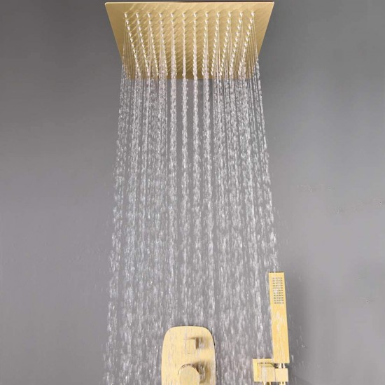Bathroom Brass 12 Inch Ceiling Wall Mount Rainfall Shower System Mixer Set (Ceiling Mount, Brushed Gold)