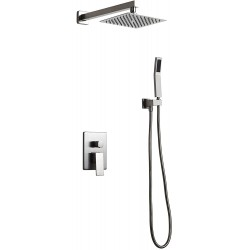 """Luxury 8"""" Shower Set Rainfall High Pressure Shower Head Handheld Spray Wall Mounted Brushed Nickel Square Shower Combo Set with Pressure Balance Rough-in Valve and Trims, Solid Brass"""