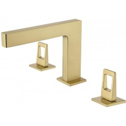 Modern Widespread Bathroom Sink Faucet in Brushed Gold 3 Hole Double Handles Lavatory Faucet Basin Mixer Tap Solid Brass