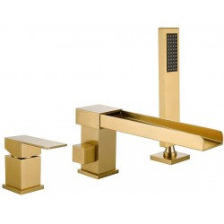 Waterfall Roman Tub Faucet Deck Mount Brushed Gold 3-Hole Bathtub Faucets Tub Filler Bathroom Faucets with Hand Shower