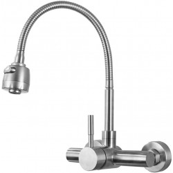 "Wall Mount Faucet Kitchen 4"",6"", 8"" Inch Center Brushed Nickle Single Handle Sprayer Mixer Stainless Steel Constructed Bar Tap"