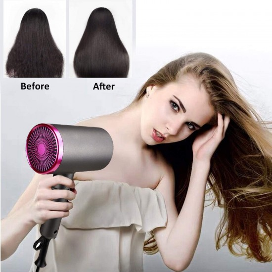 Professional Ionic Hair Dryer 1800 Watt Blow Dryer with Diffuser and Concentrator Nozzles Foldable and Portable Negative Ion Hairdryers 57°Constent Temperature for Home Use