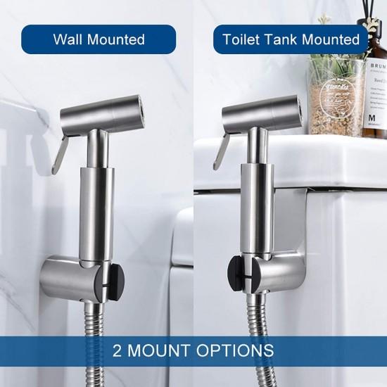 Bidet Sprayer for Toilet, Handheld Cloth Diaper Sprayer, Bathroom Jet Sprayer Kit Spray Attachment with Hose, Handheld Bidet Toilet Attachment Sprayer (Brushed Nickel) Easy Install Great