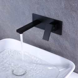 Bathroom Faucet For Vessel Sink, Single Hole Wall Mounted Solid Brass Basin Mixer Taps, Basin Sink Mixer Tap Faucet Hot and Cold Spout Mixer Bathtub faucet Black