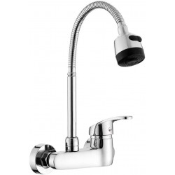 Wall Mount Faucet Kitchen 6 Inch Center Polished Chrome Commercial Single Handle Pull Out Sprayer Mixer Bar Tap