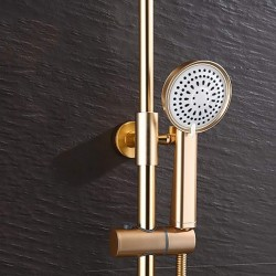 Creativity Top Spray Round Waterfall Bathroom Faucet Shower Head Wall-Mounted Copper Fittings 304 Stainless Steel, Hand Shower Single Handle Mixer Hot And Cold Water 3-hole Installation Gold