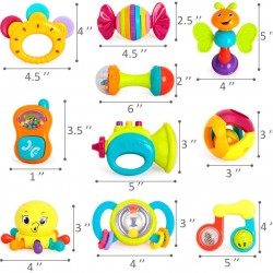 10pcs Baby Rattles, Shaker, Grab and Spin Rattle, Musical Toy Set, Early Educational Toys for 3, 6, 9, 12 Month Baby Infant, Newborn