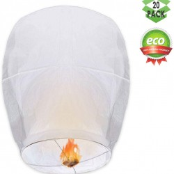 Chinese Lanterns, 20 Pack Paper Lanterns - 100% Biodegradable, Eco-Friendly, Japaneses Lanterns for Weddings, Celebrations, Memorial Ceremonies, White Lanterns