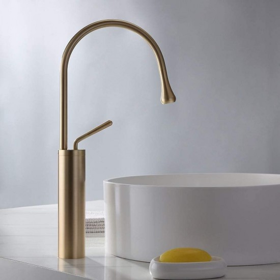 Commercial High Arc Single Handle 1-Hole Bathroom Vessel Sink Faucet Solid Brass Lavatory Vanity Sink Faucet (Brushed Gold)