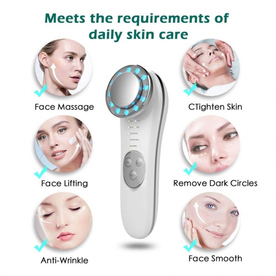 Facial Massager - 7 in 1 Face Cleaner Lifting Machine - High Frequency Machine - Promote Face Cream Absorption - LED Blue & Red Light Wave - Lift & Firm Tighten Skin Wrinkles - Skin Care Tools