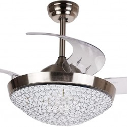 Ceiling Fans with LED Lights 46 Inch Ceiling Fan with Remote Crystal Chandelier Fans with Retractable Blades, Replaceable 4000K Cool White Lights, Chrome Finished
