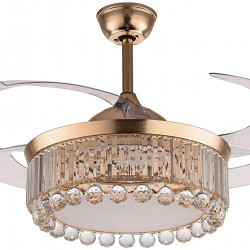 """42"""" Gold Crystal Ceiling Fan Lights with Remote Control,Ceiling Fan Chandelier LED Three-Color Lights 3 Speeds Fan Retractable Blade for Living room, Kitchen, Restaurant"""