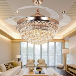 Chandelier Ceiling Fan Light with Remote Control and Transparent Blades 3 Varied Light Colors Ceiling Fans 42 inch for Indoor, Living Room, Corridor, Dining Room Light Gold