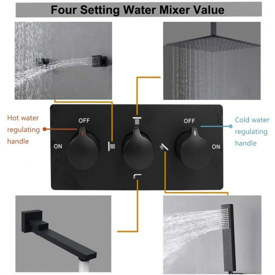 Matte Black Solid Brass 12 Inch Square Rainfall Shower System Ceiling Mounted Rain Shower Fixtures With HandHeld And Tub Spout Body Jets Set