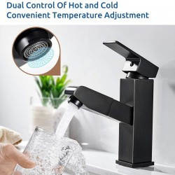 Bathroom Sink Faucet Single Handle Brushed Nickel Basin Mixer Tap for Hot and Cold Water Sink Faucet Commercial Stainless Steel Faucet Sink Faucet (Black)