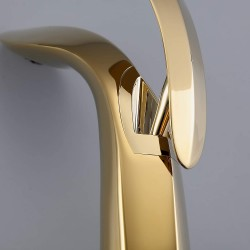 1-Hole Single Handle Bathroom Faucet Gold Vessel Sink Faucet Solid Brass Lead-Free Vanity Mixer Tap