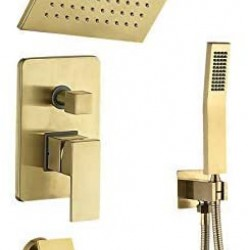 Shower System with Waterfall Tub Spout Shower Faucet Set with Rain Shower Head Wall Mounted Shower Set in Brushed Gold,Rough-in Valve and Trim Included (10'')