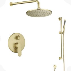 Concealed Wall Mount Bathroom Brass Round 10 Inch Brushed Gold Rainfall Shower System set