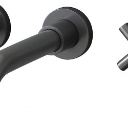 Brushed Dark Grey Bathroom Faucet, Double Handle Wall Mount Bathroom Sink Faucet and Rough in Valve Included (Brushed Dark Grey)
