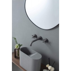 Brushed GunMetal Grey Bathroom Faucet, Double Handle Wall Mount Bathroom Sink Faucet and Rough in Valve Included (Brushed GunMetal Grey)