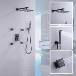 Shower Faucet Set Black Matte Bathroom Shower System with 4PCS Shower Body Sprayer Jets Wall Mount 10 Inch Rain Shower Head System with Handheld Showerhead