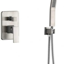 Shower System Brass Wall Mount Shower Fixtures with Tub Spout,8 inch Rain Shower Head and Handheld Brushed Nickel